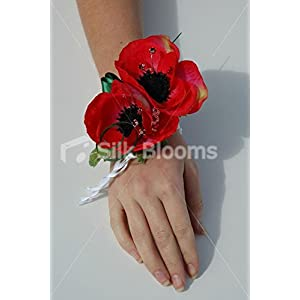 Gorgeous Bright Red Anemone Poppy Pearl Wrist Corsage & Crystals 96