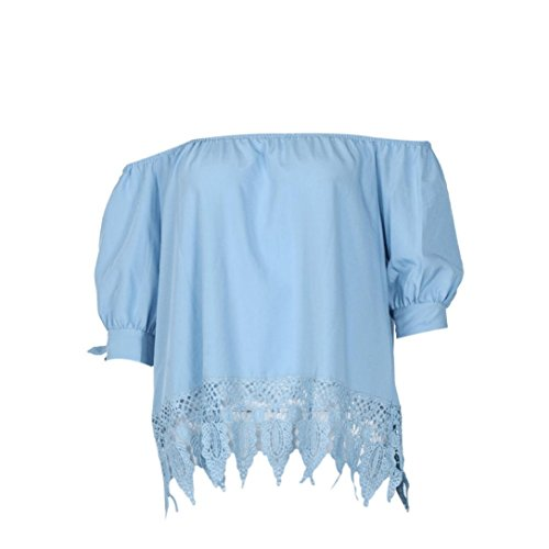 Price comparison product image Cinidy Women Fashion Summer Ladies Lace Off-shoulder Casual Blouses Tops T-Shirt (XL)