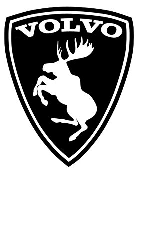 myswedishparts Volvo Prancing Moose Sticker Black Background White Moose 3 inch