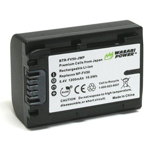 Wasabi Power Battery for Sony NP-FV30, NP-FV40, NP-FV50 and Sony DCR-SR15, SR21, SR68, SR88, SX15, SX21, SX44, SX45, SX63, SX65, SX83, SX85, FDR-AX100, HDR-CX105, CX110, CX115, CX130, CX150, CX155, CX160, CX190, CX200, CX210, CX220, CX230, CX260V, CX290, CX300 , CX305, CX330, CX350V, CX360V, CX380, CX430V, CX520V, CX550V, CX560V, CX580V, CX700V, CX760V, CX900, HC9, PJ10, PJ30V, PJ50, PJ200, PJ230,