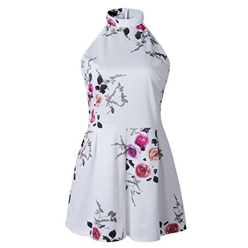 Jumpsuit Manches Cold Shoulder Court moichien Floral Barboteuses Mode D'été Halter Sans Femmes Blanc Ai Imprimé qzPASwx
