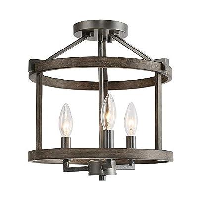 LNC Simi Flush Mount Ceiling Light, Industrial 3 Lights Drum Chandelier, Rust & Faux Wood Finish
