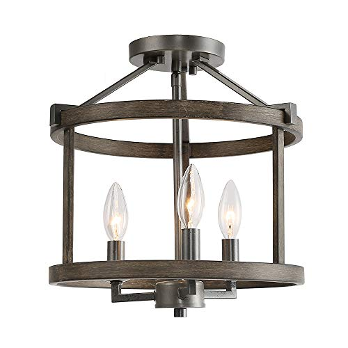 Rust Chandelier - LNC Simi Flush Mount Ceiling Light, Industrial 3 Lights Drum Chandelier, Rust & Faux Wood Finish