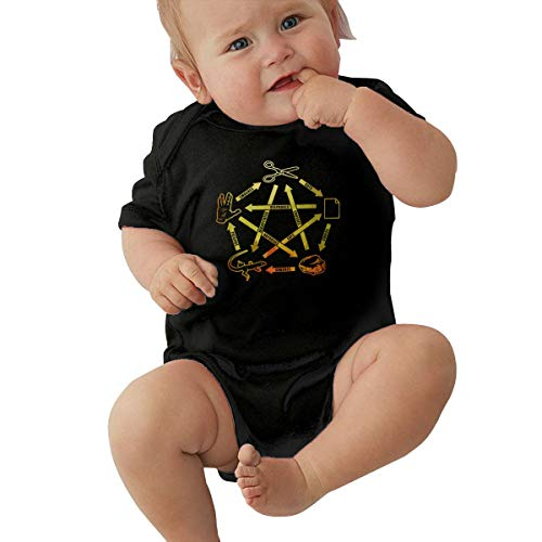 Rock Paper Scissors Spock Unisex Baby Boy Girl Bodysuits Short Sleeve Infant Cotton Clothes for 0-24 Month 12M Black -