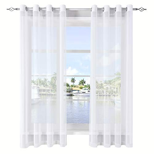 DWCN White Sheer Curtains for Living Room Linen Look Voile Drapes Grommet Window Curtain Panel 52 x 63 Inch Long, Set of 2 ()