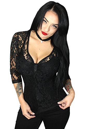 Sexy 3/4 Lace Gothic Pinup VTG inspired Top~ Black (L, - Torrance Shopping Ca