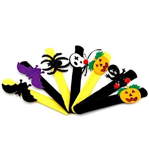 Uchic 12Pcs Assorted Style Halloween Decoration Patting Circle Bracelet Pat Ring Pops Pumpkin Circle Flap Clasp Wristband Party Supplies Kids Favor Gifts
