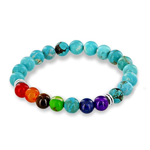 (Believe London Turquoise Bracelet Gemstone Healing Bracelet Chakra Bracelet Anxiety Crystal Natural Stone Men Women Stress Relief Reiki Yoga Diffuser Semi Precious (Turquoise Crystal Chip 6.5