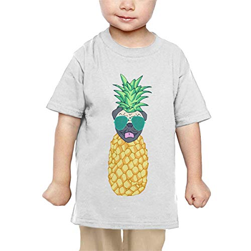 Price comparison product image Pipi66xiami Toddler Pineapple Pug Unisex Infants Crew Neck Short Sleeve Tee
