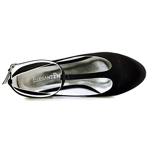 ElegantPark Mujer Cerrado Toe Chunky Tacón T-Correa Bombas Satén Zapatos de vestir de noche Negro