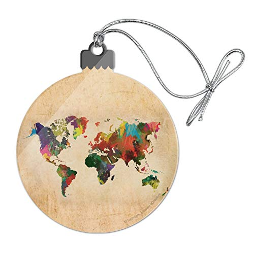 GRAPHICS & MORE Colorful Rainbow Map of The World Earth Globe Acrylic Christmas Tree Holiday Ornament ()