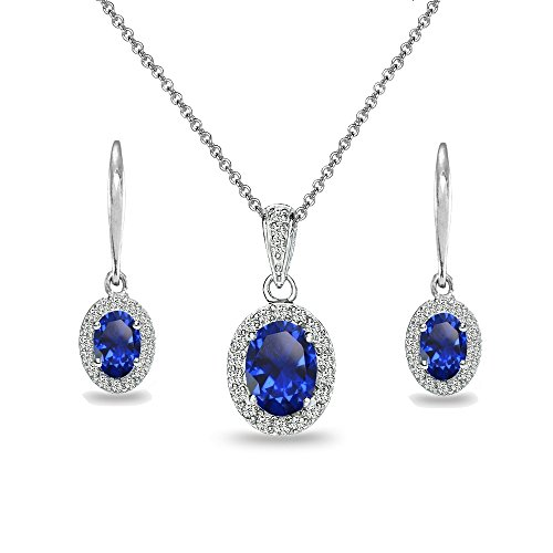 Sterling Silver Created Blue Sapphire & White Topaz Oval Halo Necklace & Leverback Earrings (Oval Sapphire Pendant Set)