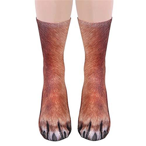 Halloween Unisex 3D Animal Socks Adult Cat Tiger Dog Funny Paw Crew Warm Sock (Dog) -
