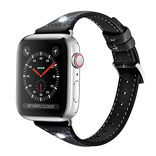 Soon Compatible Apple Watch Band 42mm 44mm, Genuine Leather Slim Streamline Design with Diamond Rhinestone Women Strap Replacement fit iWatch Series 4 3 2 1 Sports & Edition - Black
