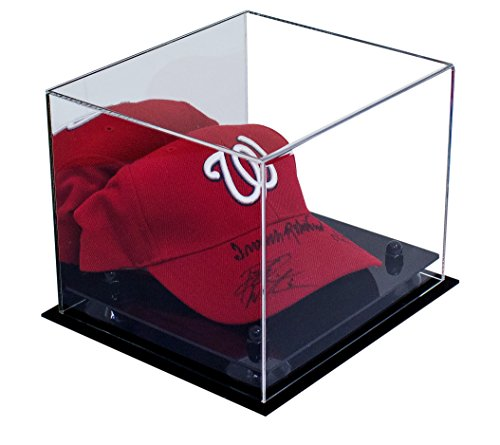 Deluxe Acrylic Baseball Cap Display Case with Black Risers and Mirror (A006-BR) Hat Display Box