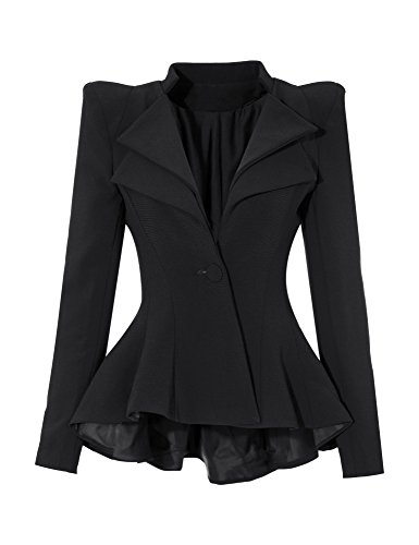 GRAPENT Women's Black Double Notch Lapel Sharp Shoulder Pads Asymmetry Blazer Jacket US - Sunglasses Outrageous