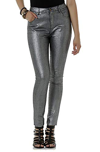 Bongo Junior's Girls Printed Skinny Metallic Gunmetal Coated Jeans (Silver, Size 3) ()