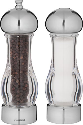 Trudeau Ceramic Grinder - Trudeau Maison 7.5 inch Stainless Steel and Clear Pepper Mill with Ceramic Grinder and Salt Shaker