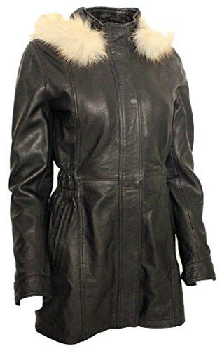 Chaqueta de cuero con capucha negra de Parka de las mujeres