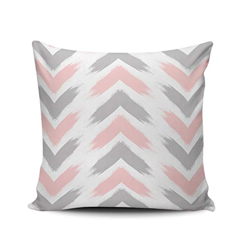 WEINIYA White Modern Pastel Pink Gray Arrow Brushstrokes Pattern Pillowcase Home Decorative 18x18 Inch Square Throw Pillow Case Cushion Covers Double Sided Printed (Pink Cushions And White)