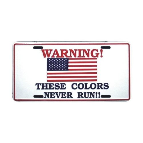 HangTime These Colors Never Run American Flag Patriotic Metal License Plate 6 x 12 Tag City Auto tag