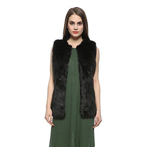 Dikoaina Womens Girls Soft Faux Rabbit Fur Vest Waistcoat Winter Warm Sleeveless Coat Outwear