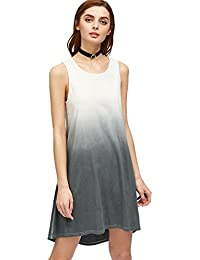 Womens Tunic Swing T-Shirt Dress Short Sleeve Tie Dye Ombre Dress