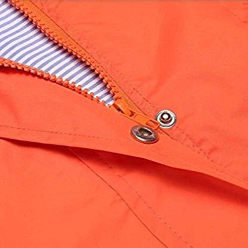 Mode vent Avec Veste Blouson Poches Imperméable Fermeture Élégant Softshell Classique Longues Hiver Outwear Femme Orange A Avant Fille Manches Bouton Capuche Outdoor Coupe Éclair Automne Revers qwrfwIBF