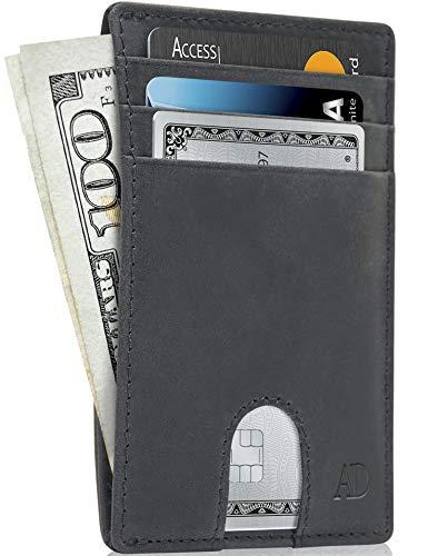 Slim Minimalist Wallets For Men & Women - Leather Front Pocket Thin Mens Wallet RFID Credit Card Holder Gifts For Men - Black Wallet