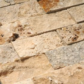 Scabos Travertine 2x4 Split Face Brick Mosaic Tile