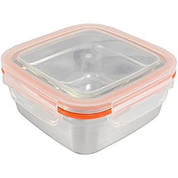 Mighty Hippo Square Stainless Steel Super Container - Extra Large XL / Leak Proof / Dishwasher Safe / Reusable / Food Safe / Storage / Lunch and Snack Box / Adult and Kid Friendly / Metal / BPA Free