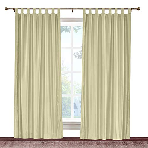 cololeaf Faux Silk Satin Blackout Curtains Luxury Dupioni Thermal Insulated Tab Top Drapes for Living Room Bedroom Diningroom, Khaki 84