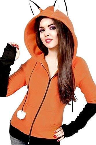 Anime Fox Orelhas Cosplay Hoodie Fleece Jacket Halloween Cosplay Sweatshirt Cute Animal Costume Coat (XXL, Orange)
