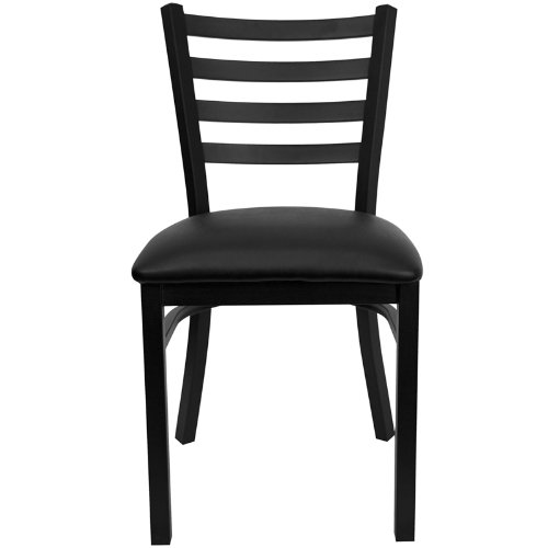 Flash Furniture 4 Pk. HERCULES Series Black Ladder Back Metal Restaurant Chair - Black Vinyl Seat by Flash Furniture (Image #3)