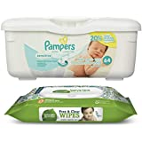 Pampers Sensitive Wipes Tub (64 ct) Bundle with Seventh Generation Flip Top Baby Wipes (30 ct)