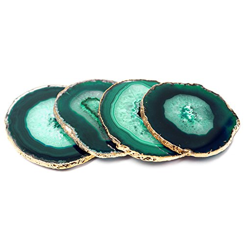 Modern Home Set of 4 Natural Agate Stone Coasters - Green w/Gold Edge