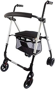 Mobiclinic, Modelo Dehesa, Andador para minusvalidos, adultos, mayores o ancianos, de aluminio, ligero, plegable, con asiento y 4 ruedas, Color Gris Perlado