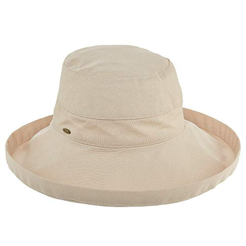 SCALA Women's Cotton Hat with Inner Drawstring and UPF 50+ Rating - 3 Inch Brim Sand