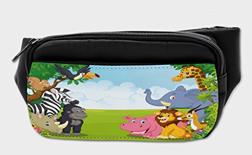 Ambesonne Kids Bumbag, Kids Safari Animals, Fanny Pack Hip Waist Bag by Ambesonne