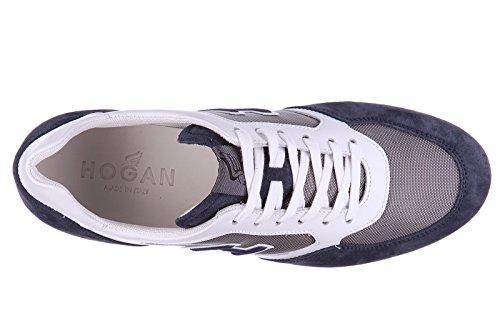 Hogan Menns Sko Skinn Trenere Joggesko H205 Olympia Xh Flokk Blu