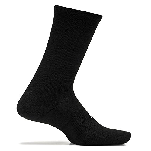 Feetures - High Performance Cushion - Crew - Athletic Running Socks for Men and Women - Black - Size ()