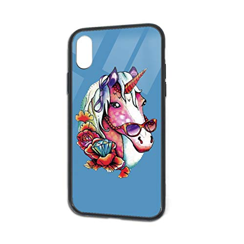 Shock-Absorption Funky Unicorn Glass Back Phone Case for iPhone X iPhone Xs -