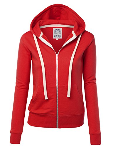 WSK954 Womens Active Fleece Zip Up Hoodie Sweater Jacket M Red (Sweatshirt Zipper Red)