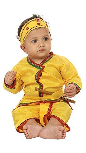 Kurta Dhoti (FOCIL Yellow Krishna Dhoti Kurta Dress Kids (Pack of 4-Basuri,Mor Pankh mukut,Bandhni Patka & Dhoti Kurta))