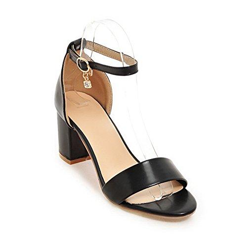 Sandali Tacco Womens Mjs03005 Solidi Chunky Perline Con Heels Uretano Nero 1to9 In xTnwBXRqnd