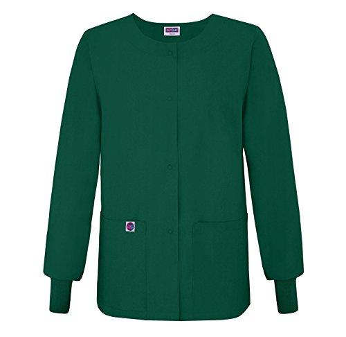Sivvan Women's Scrub Warm-Up Jacket/Front Snaps - Round Neck - S8306 - Hunter Green - S