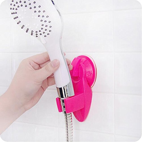 LIVDAT Heavy Duty Vacuum Suction Cup Shower Head Wall Mount Holder Adjustable Removable Handheld Showerhead for Bathroom (Color May Vary)
