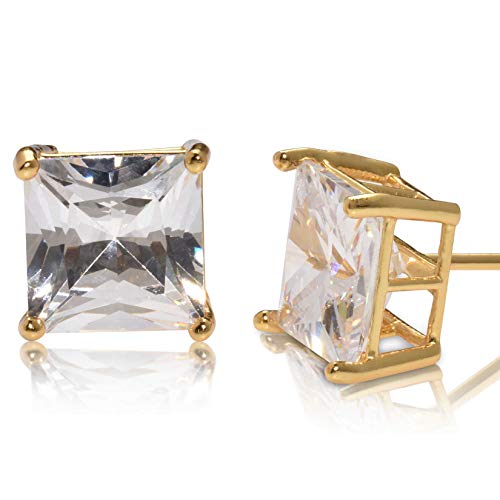 (Square Princess Cut 8mm white Cubic Zirconia .925 Sterling Silver Gold Plated Basket Setting Unisex Stud Earrings)