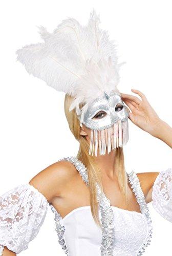Roma Costume Beaded Masquerade Mask Costume, White/Silver, One Size