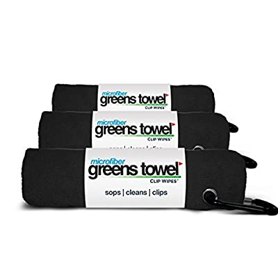 "Microfiber Greens Towel (3 Pack), 16"" X 16"" with Carabiner Clip. ""The Convenient Golf Towel"""